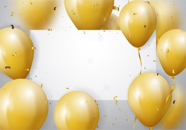 金の紙吹雪と風船でお祝いの背景