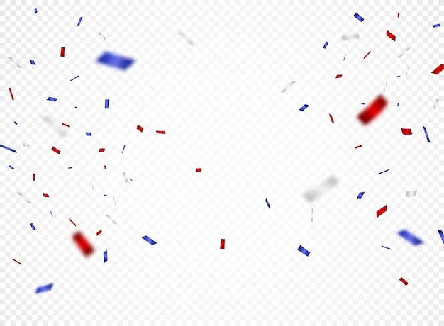 赤と青の紙吹雪、透明の分離
