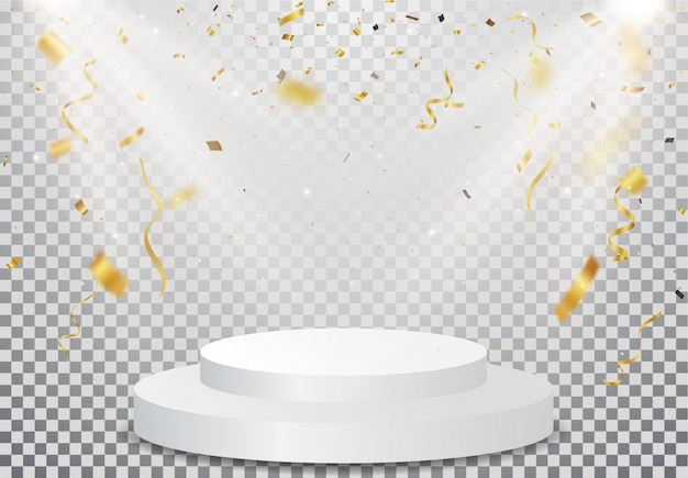透明の金の紙吹雪のお祝いと勝者の表彰台