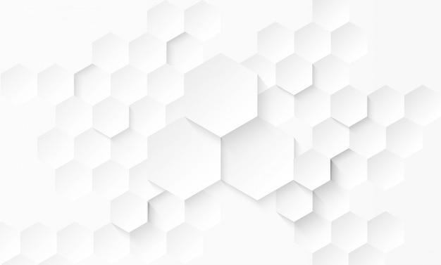抽象的な紙ヘキサゴンの白い背景。