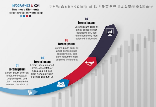 インフォグラフィックビジネスタイムラインプロセスグラフテンプレート。