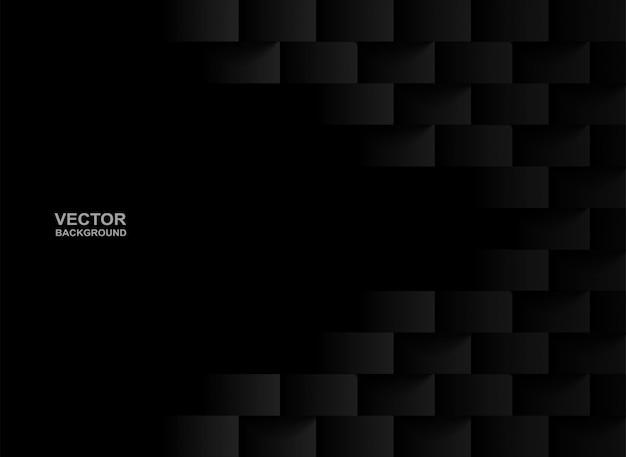 エンボス幾何学的正方形の黒い背景。