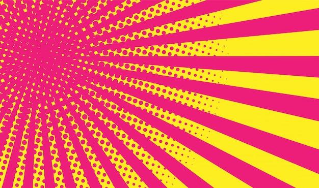 イエローピンクグラデーションハーフトーンの背景。ポップアートスタイル。