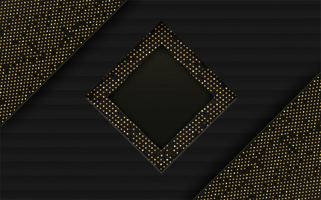 抽象。黒、金の紙の背景が重なっています。