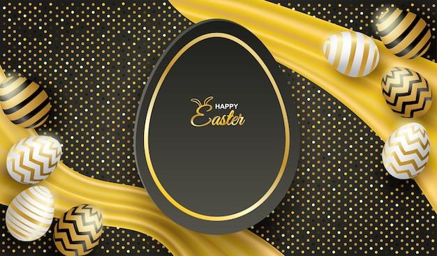 Счастливое пасхальное торжество. пасхальное яйцо на черном фоне.