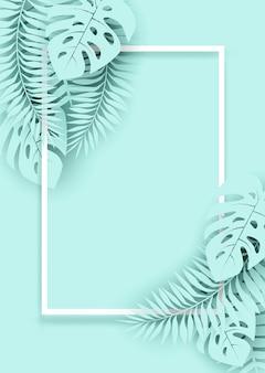 Лето, тропический праздник фон. дизайн с тропическими листьями. бумажный художественный стиль.