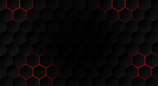抽象。六角形の黒い背景、赤い光と影。