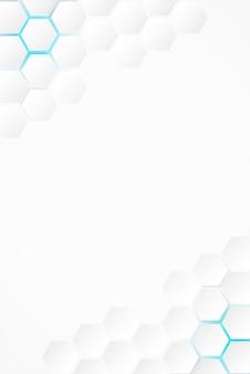 抽象。六角形の白い背景、青い光と影。ベクター。