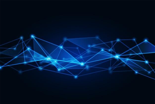明るい青色の背景に接続されているドット