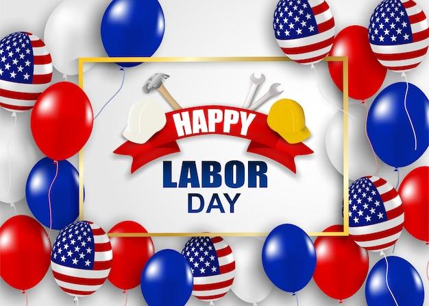 幸せな労働者の日アメリカ。ハンマー、安全ヘルメット、レンチ、風船、アメリカ国旗を使ったデザイン