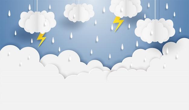 Муссон, сезон дождей. дождь облака и удар молнии висят на голубом небе. бумажный художественный стиль.