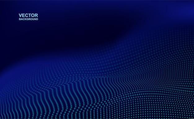 抽象。デジタル波状点線の濃い青の背景。技術コンセプト