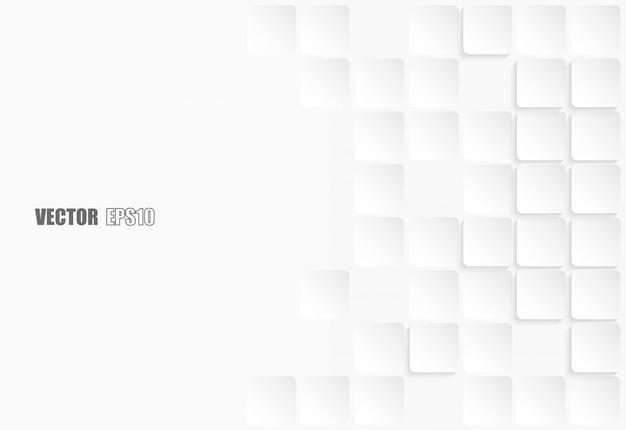 抽象的な幾何学的な正方形の紙の白い背景