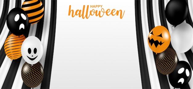 Счастливого хэллоуина . дизайн с черно-белой лентой и воздушными шариками