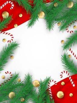 メリークリスマス。クリスマスツリー、ボール、キャンディー杖でデザイン