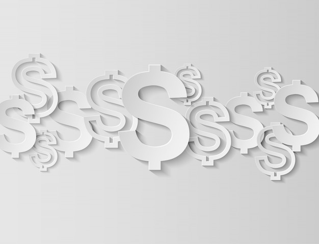 ドルは白い背景にサインオンします。光と影、コピースペース。