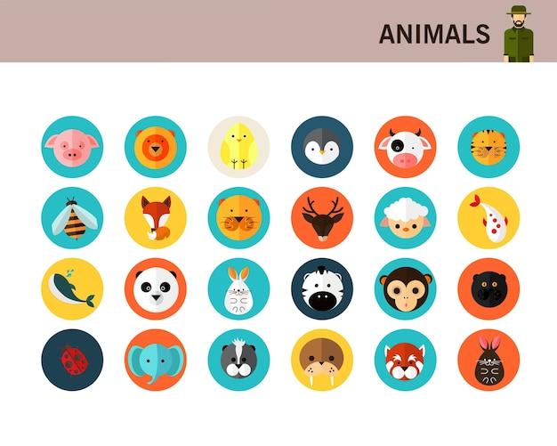 Животные концепции плоские иконки.