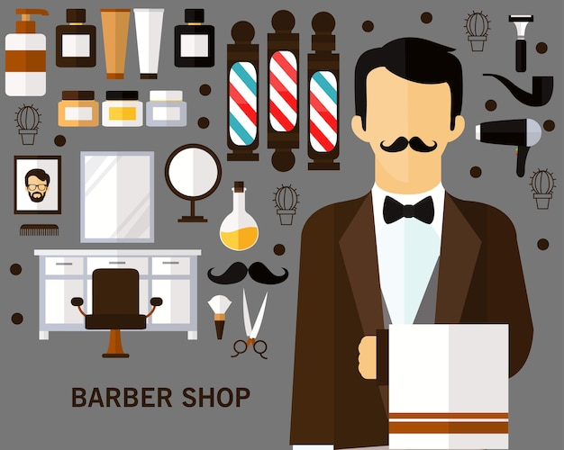 理髪店のコンセプトの背景。