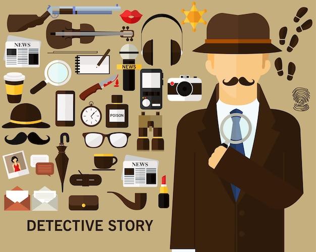 探偵物語のコンセプト背景。フラットアイコン。