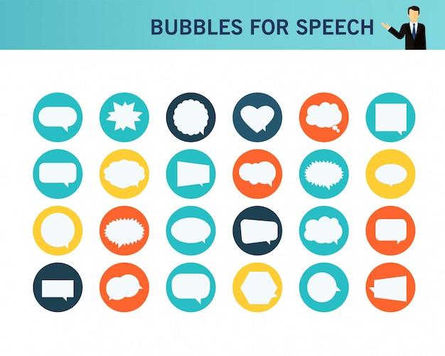 スピーチコンセプトフラットアイコンの泡。