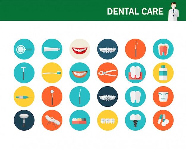 Концепция стоматологической помощи плоские иконки.