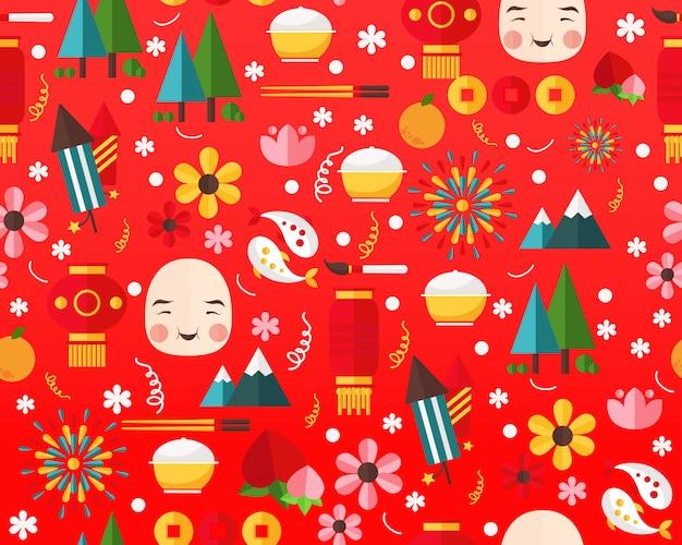 ベクトルフラットシームレステクスチャパターン幸せな中国の新年。