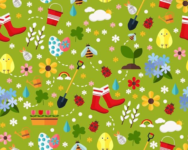 Векторные плоские бесшовные текстуры шаблон счастливой весной.