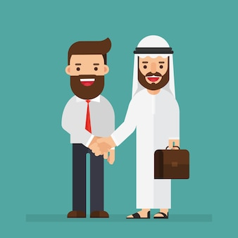 アラビア語、ビジネスマン、握手