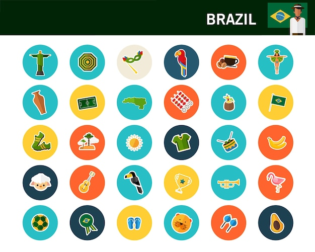 ブラジルのコンセプトフラットアイコン