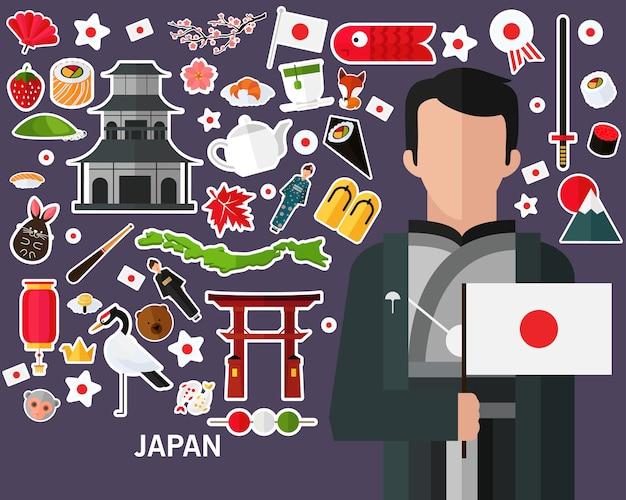 日本のコンセプト背景。フラットアイコン