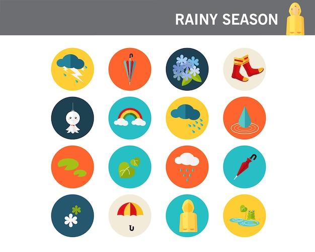 Концепция дождливого сезона плоские значки.