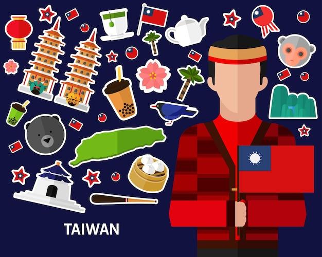 台湾のコンセプト背景。フラットアイコン