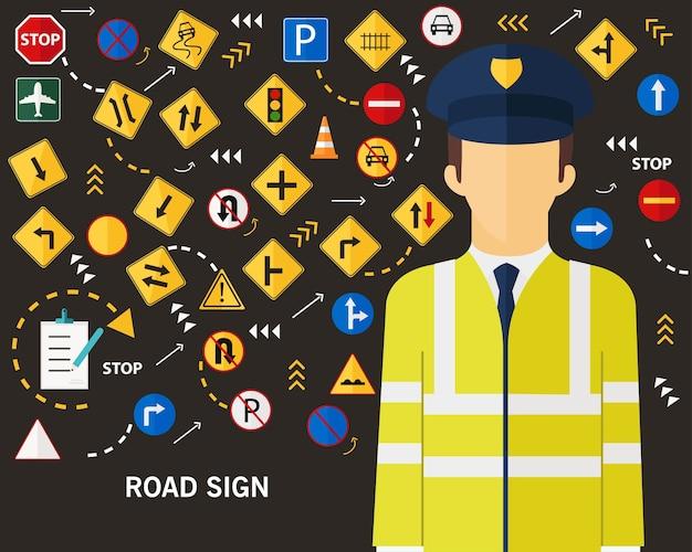 道路標識の概念フラットアイコンの背景