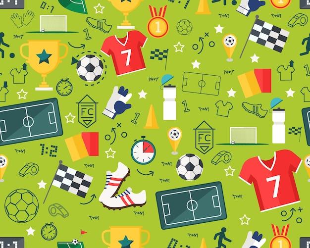 ベクトルフラットシームレステクスチャパターンスポーツサッカー。