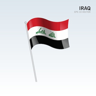 イラク、灰色の背景に旗を振る
