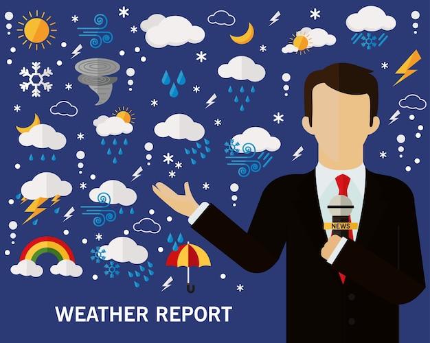 天気予報のコンセプト背景。フラットアイコン。