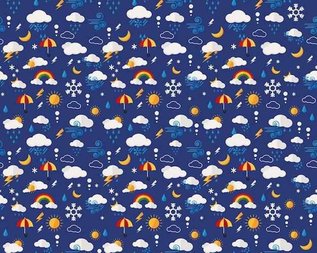 ベクトルフラットシームレステクスチャパターン天気予報。