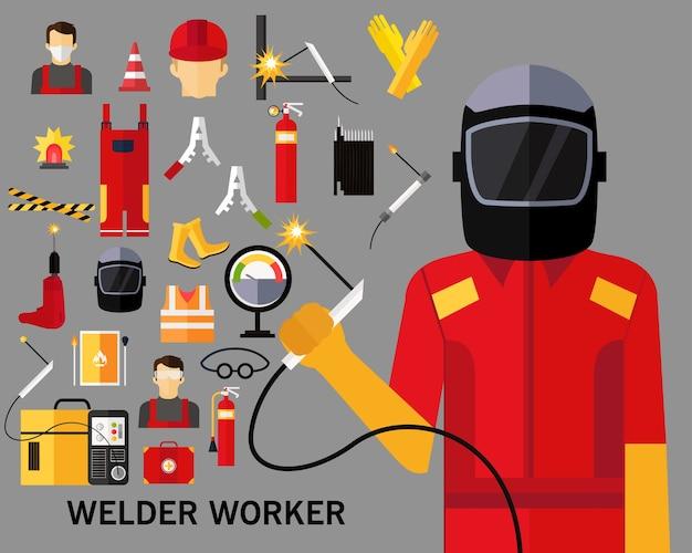 溶接機の労働者のコンセプトの背景。フラットアイコン。