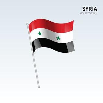 Сирия развевающийся флаг, изолированных на сером фоне