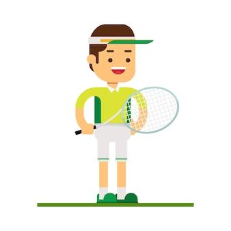 マンキャラクターアバターアイコン。テニススポーツ