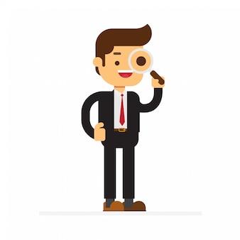 拡大鏡を見ているビジネスマン