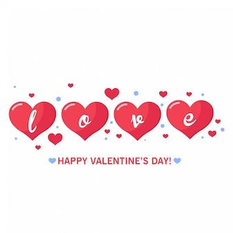 バレンタインデーの挨拶とカードのための素敵な赤い心