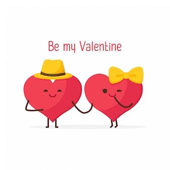 幸せなバレンタインデー、かわいいカップルのスウィートハート