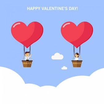 男と女、熱気球のバレンタインカード