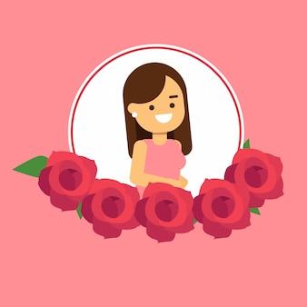 花のフレームとピンクのドレスを着た女性