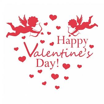 キューピッドと心で分離されたバレンタインデーのご挨拶