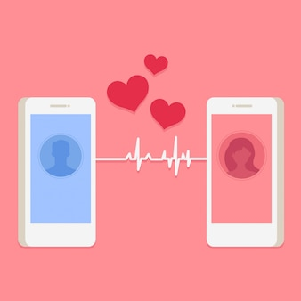 スマートフォンで男と女のアバターとバレンタインカード
