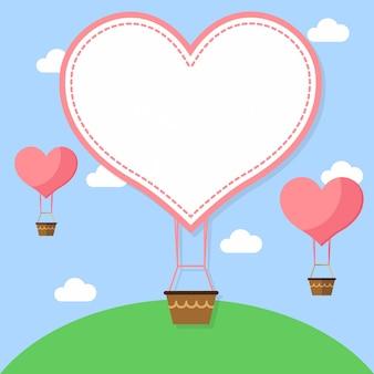 幸せなバレンタインデーのための空の背景デザインの上を飛んで、熱気球