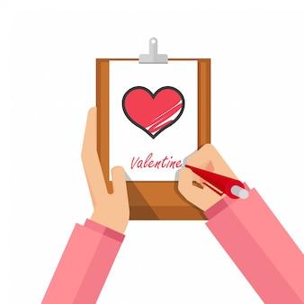 マーカーと手は赤いハートを描画します。バレンタイン・デー
