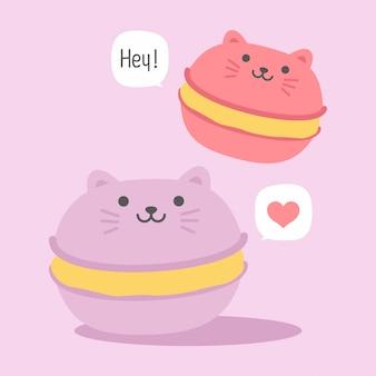 正方形のギフトタグ、カード、はがき、幸せなバレンタインデーのかわいい猫